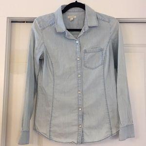 Light blue denim button down long sleeve shirt